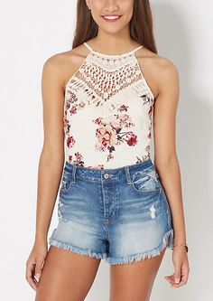 Ivory Floral Crochet High Neck Crop Tank | rue21