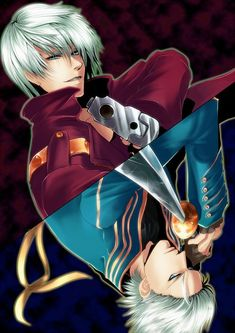 Devil May Cry. Dante and Vergil - i saw this and thought they were prussia and germany from hetalia