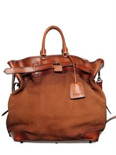 Burberry Prorsum Tarnished Nubuck Leather Bag in Brown for Men | Lyst