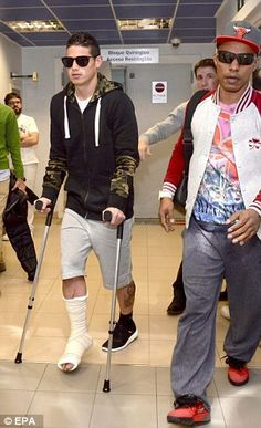 James Rodriguez was pictured on crutches at the hospital in Murcia as he underwent foot surgery