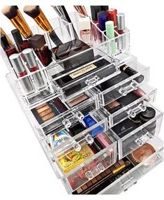 Sorbus Acrylic Cosmetics and Jewelry Storage Case Large Display Sets, Interlocking Drawers to Create Your Own Specially Designed Makeup Counter, Drawers Are Stackable, Detachable and Interchangable, Clear Makeup Jewellery Storage, Makeup Display, Makeup Storage Organization, Bathroom Organization, Jewelry Storage, Organization Ideas, Jewelry Box, Eye Makeup Tips, Makeup Set