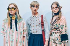 Gucci Men SS 2016 - Tommy Ton That's a guy in the middle and he's wearing a skirt  You defy those gender roles :>