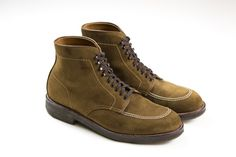 Drake's x Alden Indy Boot in snuff suede with plantation crepe sole. Available at No.3 Clifford Street.