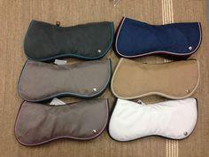 Ogilvy Half Pad: Custom colors. Grey, white piping, purple binding. Size medium.