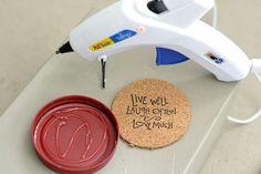 diy mason jar lid coasters, crafts, mason jars, repurposing upcycling