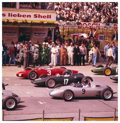Wolfgang Graf Berghe von Trips (3) and Graham Hill (17) at the start of the German Grand Prix 1961