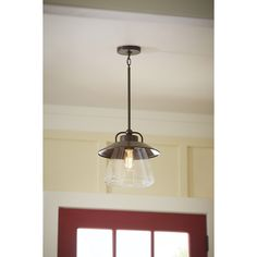 Shop allen + roth Bristow 12-in W Mission Bronze Pendant Light with Clear Glass Shade at Lowes.com