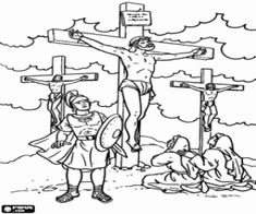 Jesus crucified between two thieves on Calvary under the supervision of a roman soldier