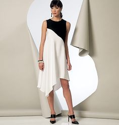 Tunic or dress (close-fitting through bust) has diagonal seam detail, shaped hemline, wrong side shows, very narrow hem and back zipper. Bias neck facing, and armhole facings A and B. C: two-piece sleeves. Semi-fitted, tapered pants...