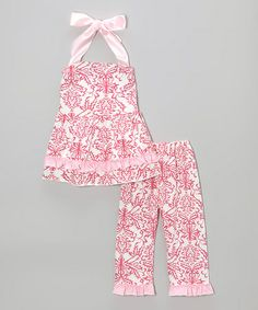 This Pink Damask Halter Top & Pants - Infant, Toddler & Girls is perfect! #zulilyfinds