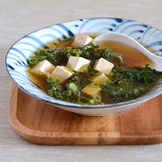 Miso Soup with Kale and Tofu. #vegan