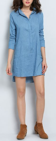 This denim dress will keep you comfortable and cozy for this spring!!!!!!!!
