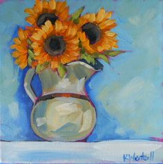 "Kristina Wentzell Fine Art~ vibrant, contemporary flora, fauna & landscape paintings  ""sunflowers in a cream pitcher, oil on canvas, 8x8 inches. ©2011 Kristina Wentzell  www.KristinaWentzell.com"