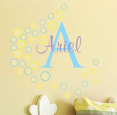 Vinyl Wall Decal Girl Name Bubbles Teen Baby Nursery