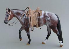 Bay Varnish Roan Appaloosa Custom model horse with gorgeous Western saddle set.