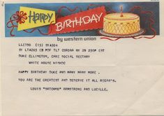 Birthday greetings from Louis Armstrong to Duke Ellington