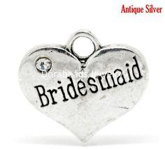 "DoreenBeads Lovely 20 Silver Tone Rhinestone ""Bridesmaid"" Heart Charm Pendants 16x14mm (B15684)"