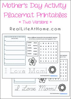 A set of free printable Mother's Day activity pages that can also double as Mother's Day activity placemat printables. There are two versions of the download.