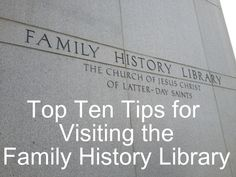 Tuesday's Tip: Top Ten Tips for Visiting the Family History Library. Wow! This gal knows her stuff. Great advice for the advanced genealogist...