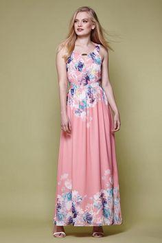Floral Maxi Dress Coral | Yumi