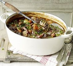 The secret to this super-rich beef casserole is to use all wine and no stock. A beef bourguignon recipe triple-tested by the BBC Good Food team. Beef Casserole, Casserole Dishes, Casserole Recipes, Slow Cooker Recipes, Beef Recipes, Cooking Recipes, Recipies, Family Recipes, Drink Recipes