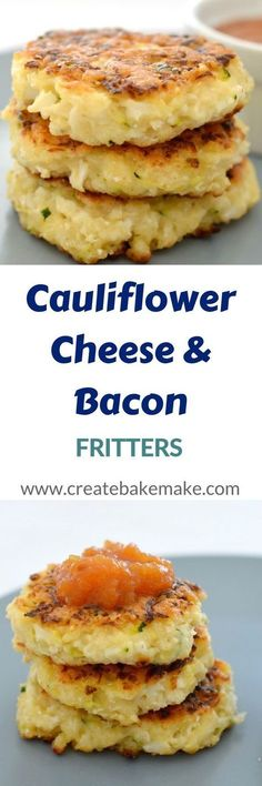 Cauliflower Cheese and Bacon Fritters de verduras Vegetable Dishes, Vegetable Recipes, Vegetarian Recipes, Vegetarian Bacon, Cauliflower Cheese, Cauliflower Recipes, Cauliflower Fritters, Cheesy Cauliflower Patties, Gourmet