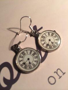 STEAMPUNK Silver (Time) Earrings on Etsy, £6.99