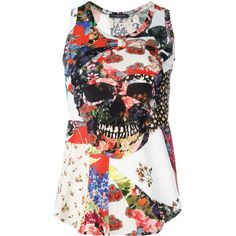 75358ac9bf643 Alexander McQueen floral skull print tank top ( 508) ❤ liked on Polyvore  featuring tops
