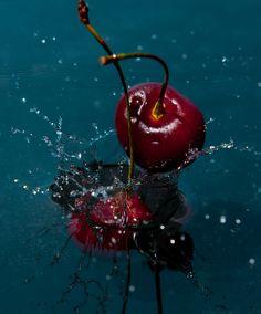 Cherry Drop by Rob Totaro Cherry Baby, Cherry On Top, Fruit Splash, Cherry Drops, Cherries, Drinks, Red, Photography, Maraschino Cherries