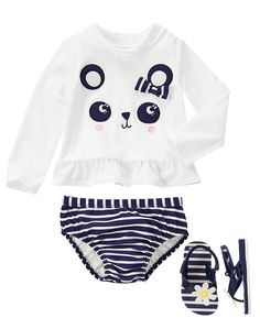 Gymboree Toddler Girl Flower Shower White and Navy Blue Striped Poolside Panda Outfit