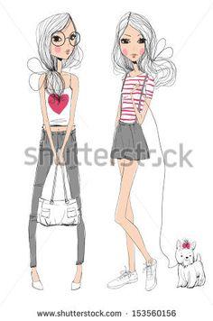fashion illustration girls  by Natalia Skripko, via Shutterstock