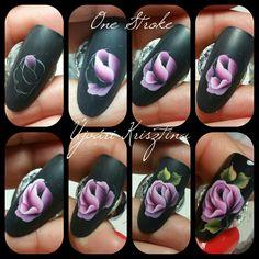 No photo description available. One Stroke Nail Art, Uñas One Stroke, One Stroke Painting, Nails & Co, Gem Nails, Water Nail Art, Nails First, Flower Nail Art, Nail Games