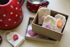 Felt Tea Bags.  My little girls would go crazy over these.  I've never thought to make these but will now.