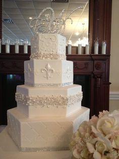 fondant fleur de lis two tier wedding cake - Google Search