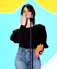 Camila Cabello accepts the Favorite Breakout Artist award onstage at Nickelodeon's 2018 Kids' Choice Awards at The Forum on March 24, 2018 in Inglewood, California.