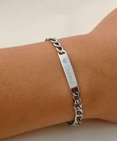 Engraved Childrens Heart  ID Bracelet