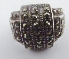 Vintage Marcasite Layered Ring  Sterling by PureJewelryElegance