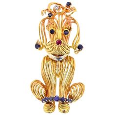 For Sale on - A whimsical and very stylish poodle 'doggie' brooch. Ingeniously hand crafted from gold old wire and sprinkled with blue Sapphires on its face Gold Collar, Diamond Bows, Bow Jewelry, Ring Watch, Vintage Brooches, Diamond Pendant, Poodle, Blue Sapphire, Round Diamonds