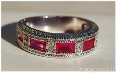 Estate 3ctw Diamond Cut Ruby Sapphire Gold Clad Wedding Band Eternity Ring s6