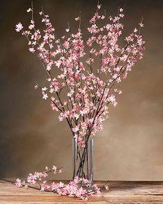 Pink Artificial Cherry Blossom Stems