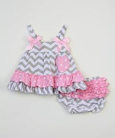 Love this Pink & Gray Chevron Swing Top & Diaper Cover - Infant on #zulily! #zulilyfinds