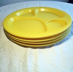 Plastic Snack Plates / Yellow  Sectioned Vintage Plates by vintagepoetic on Etsy