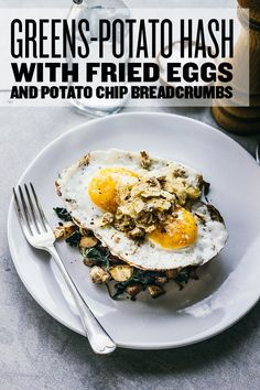 Greens-Potato Hash with Fried Eggs and Potato Chip Breadcrumbs