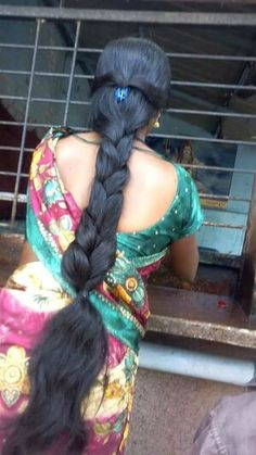 #longhair with dark black thick braid