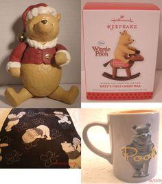 Lot of 4 Disney Winnie the  Pooh Mug Tie Hallmark Ornament Midwest Canon Falls