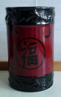 "Asian Bamboo Oriental Ceramic Water Tumbler Red Black Popular Bath 4.75""x2.5"" #PopularBath"
