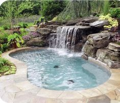 Swimming Pool Pond, Natural Swimming Pools, Swimming Pool Designs, Hot Tub Backyard, Backyard Pool Landscaping, Ponds Backyard, Small Pool Design, Pool Waterfall, Water Features In The Garden