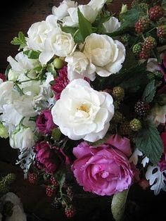 raspberry roses and blackberries