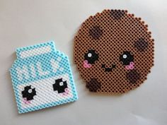 Kawaii milk & cookie perler bead magnet set of 2