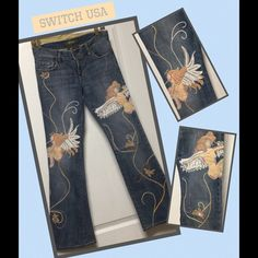 "SWITCH USA Embroidered Jeans~Angels~27 ✨SPECIAL Amazing pair of Authentic & Original SWITCH USA embroiders jeans~ design is Angels ~wings accented with bugle bead sequins~additional embroidery included swirls and lace floralettes with sequins bead embellishments & gold thread leaves~  Waist-27"" Inseam 31"" Rise 7"" 98% Cotton 2% Lycra ~ I purchased but ended up never wearing.These are in perfect condition. ~purchased from high end Jean boutique~absolutely gorgeous jeans~ Was $80 ✨SPECIAL $60…"